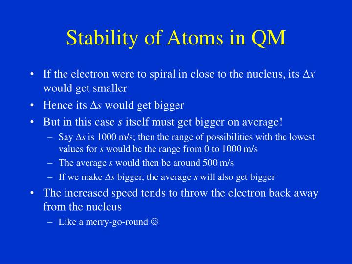 Stability of Atoms in QM
