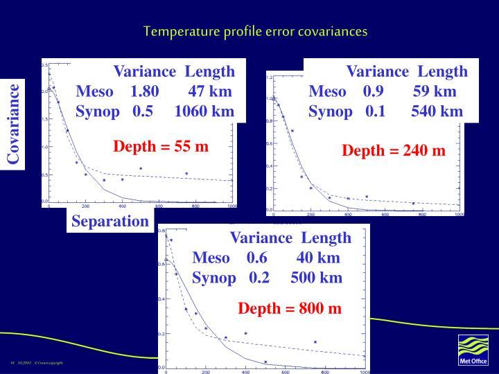Temperature profile error covariances