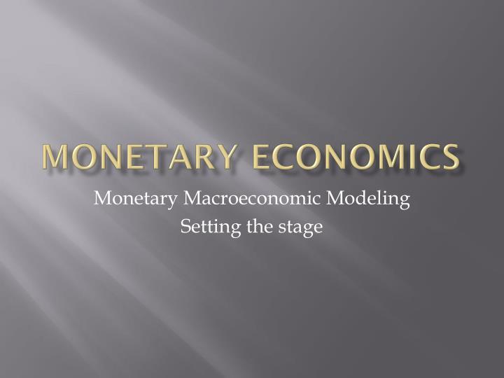 monetary economics n.