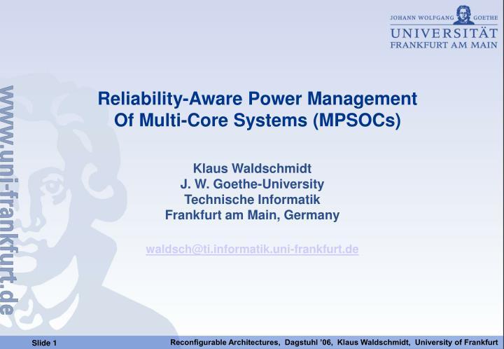 Reliability-Aware Power Management