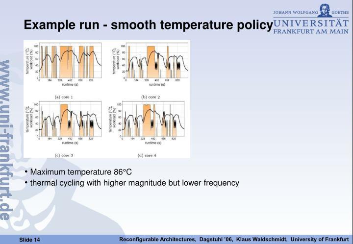Example run - smooth temperature policy