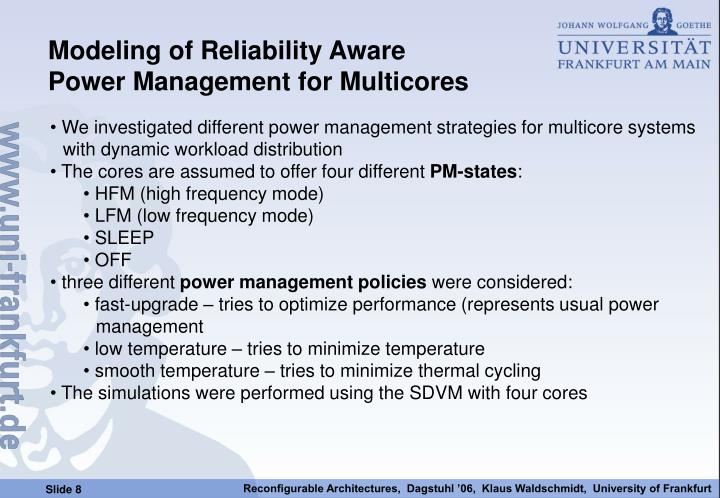 Modeling of Reliability Aware