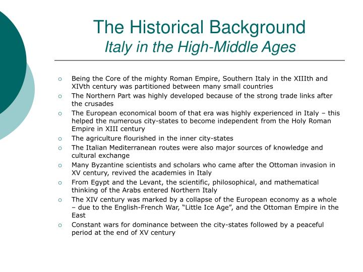 The historical background italy in the high middle ages