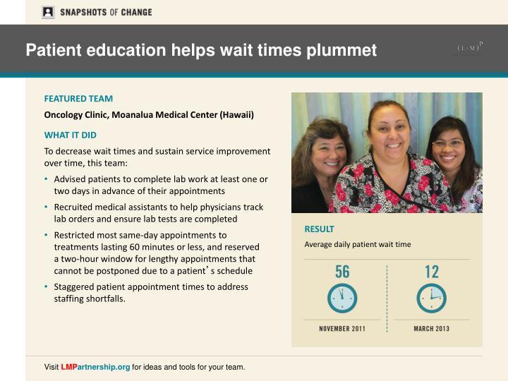 Patient education helps wait times plummet