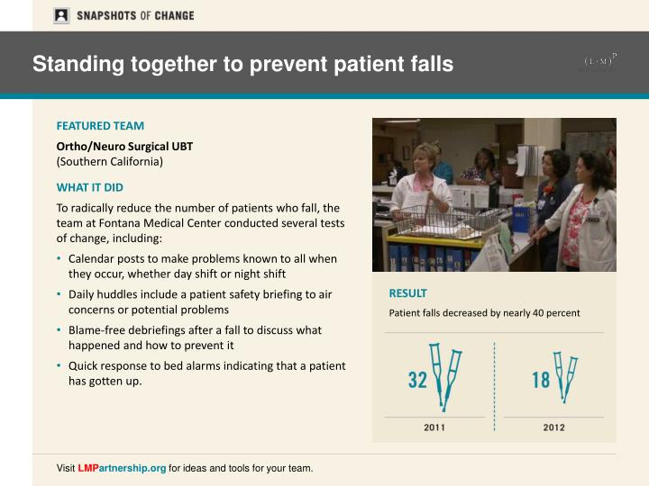 Standing together to prevent patient falls