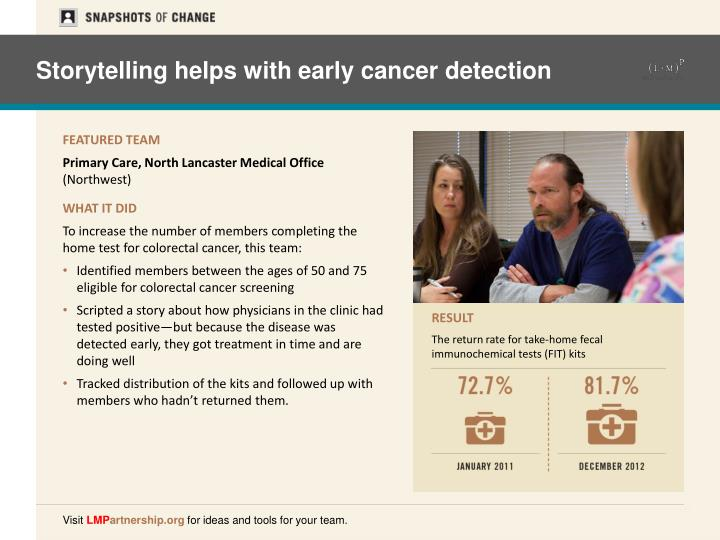 Storytelling helps with early cancer detection