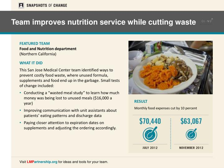 Team improves nutrition service while cutting waste