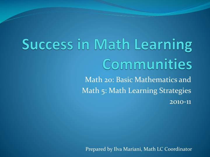 success in math learning communities n.