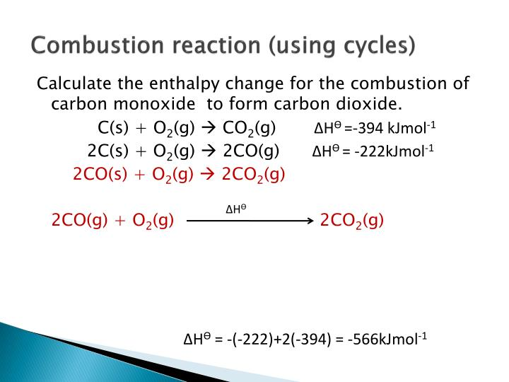 Combustion reaction (using cycles)