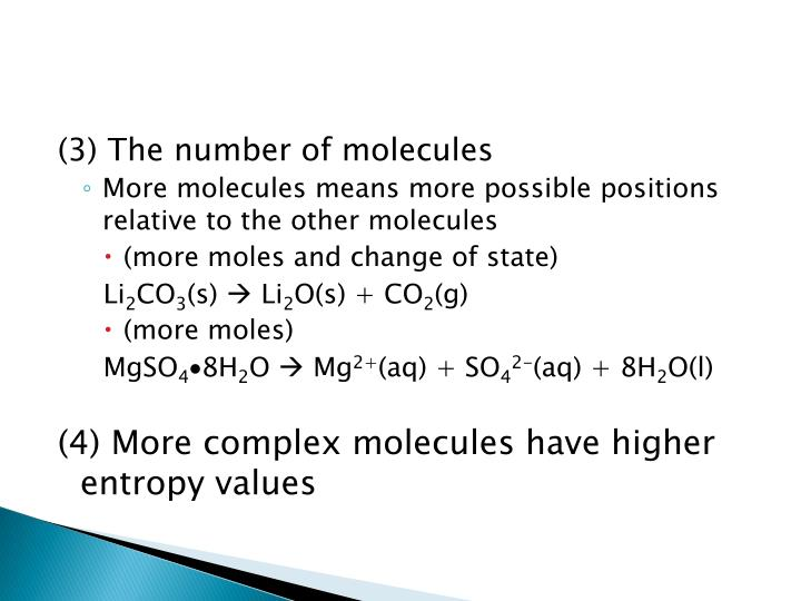 (3) The number of molecules