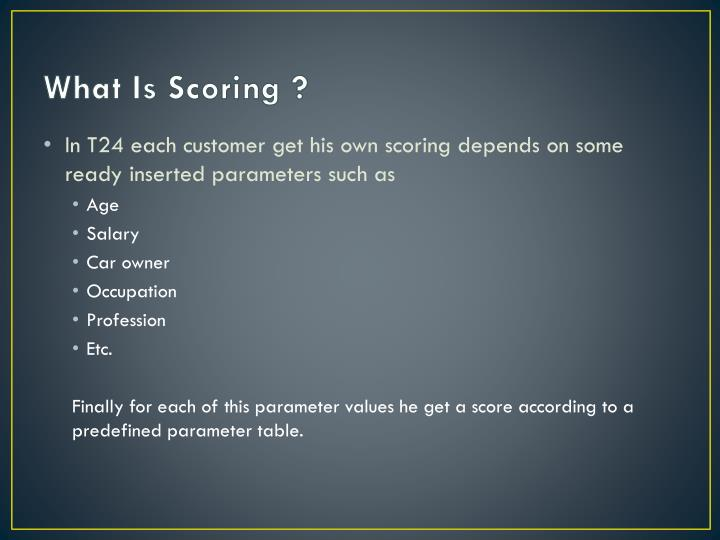 What Is Scoring ?