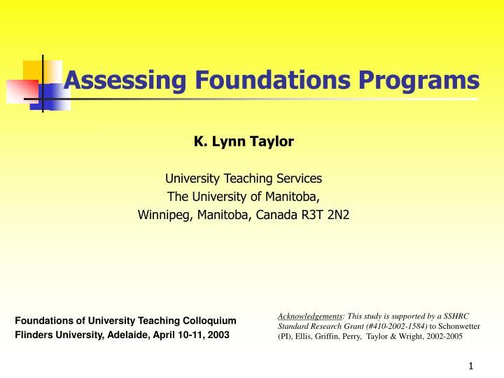 assessing foundations programs n.