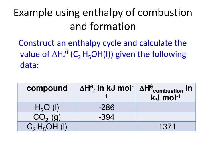 PPT - Example using enthalpy of combustion and formation