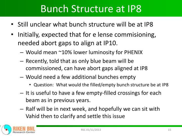 Bunch Structure at IP8