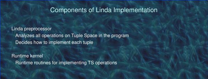 Components of Linda Implementation