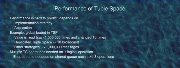 Performance of Tuple Space