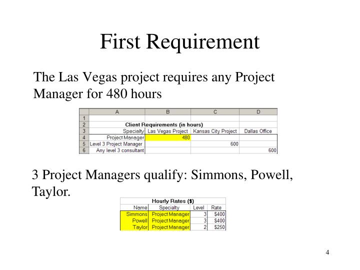 First Requirement