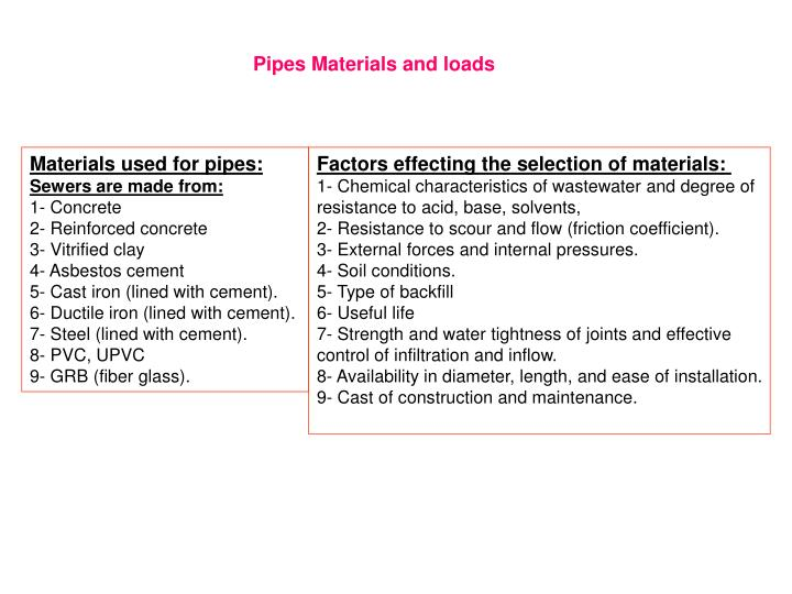 PPT - Materials used for pipes: Sewers are made from: 1- Concrete 2