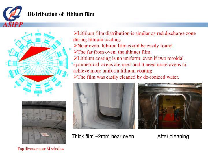 Distribution of lithium film