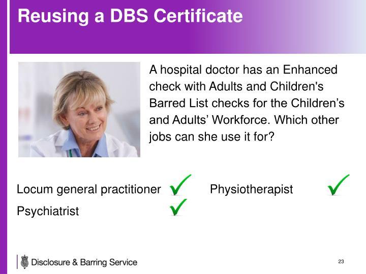 Reusing a DBS Certificate