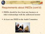 requirements about ineds cont d