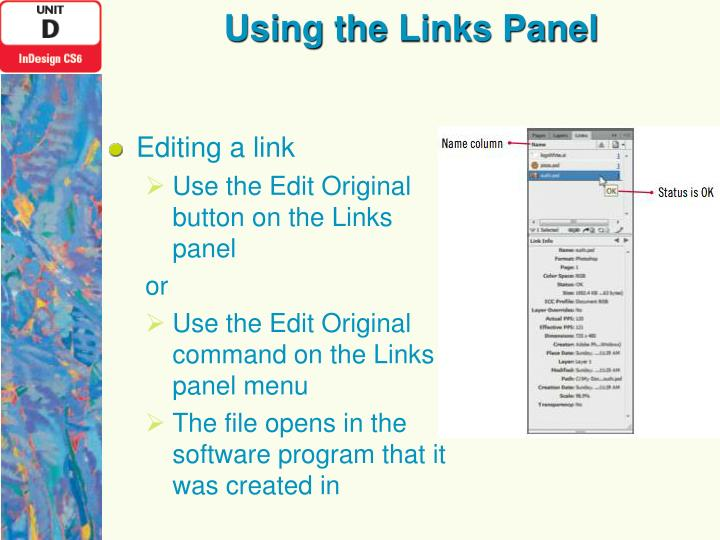 Using the Links Panel