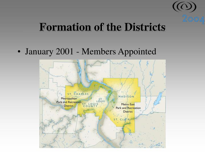 Formation of the Districts
