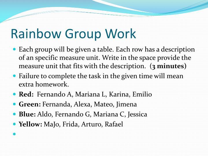 Rainbow Group Work