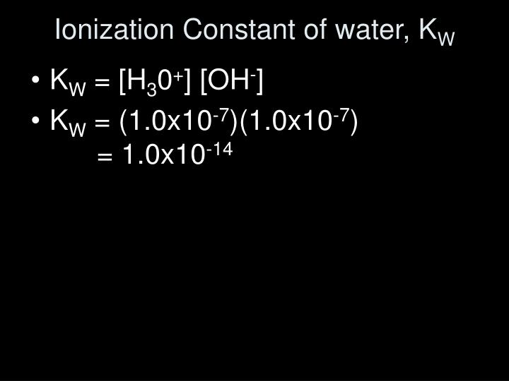 Ionization Constant of water, K