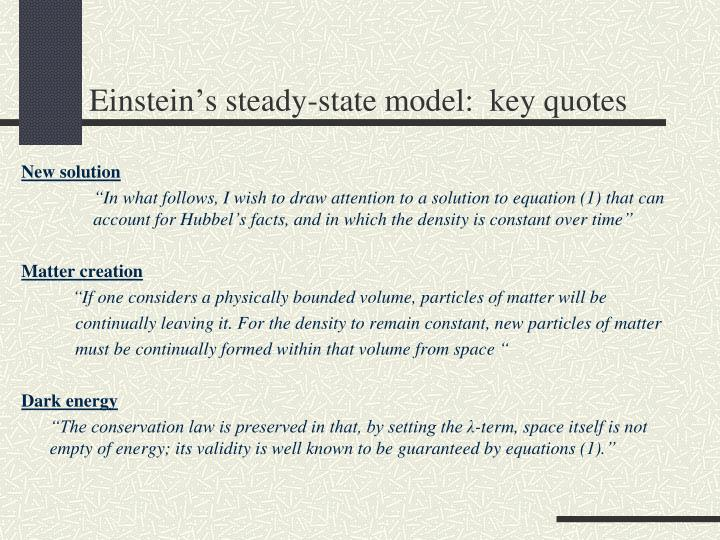 Einstein's steady-state model:  key quotes