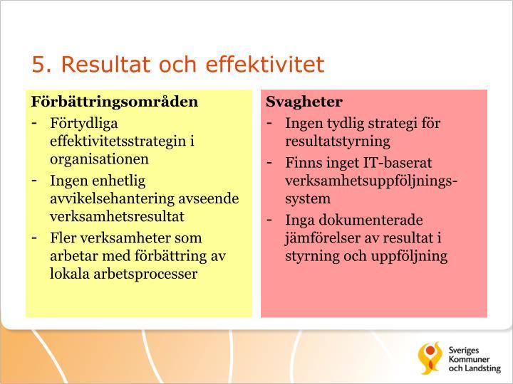 5. Resultat och effektivitet