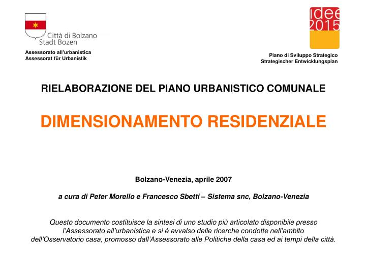 Assessorato all urbanistica assessorat f r urbanistik