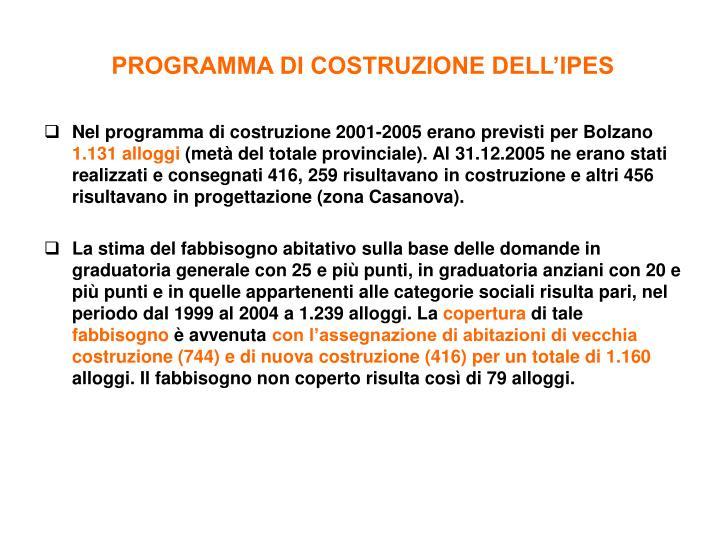 PROGRAMMA DI COSTRUZIONE DELL'IPES