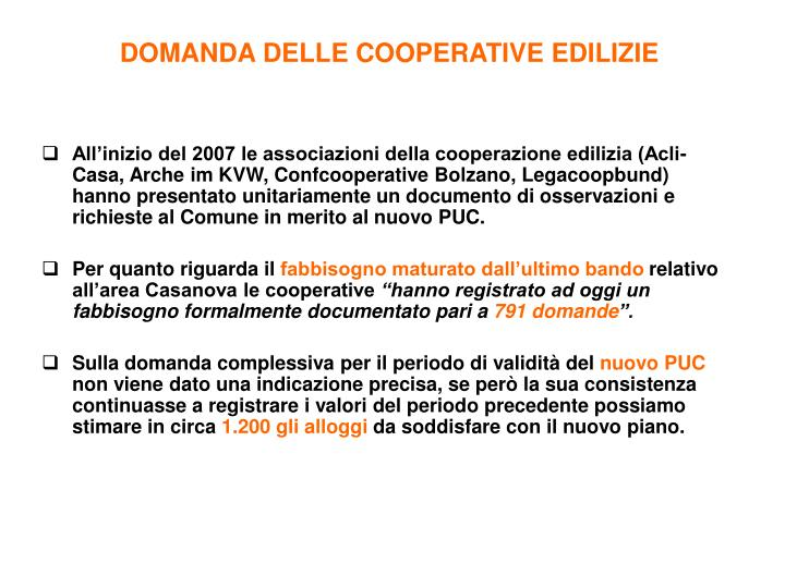 DOMANDA DELLE COOPERATIVE EDILIZIE