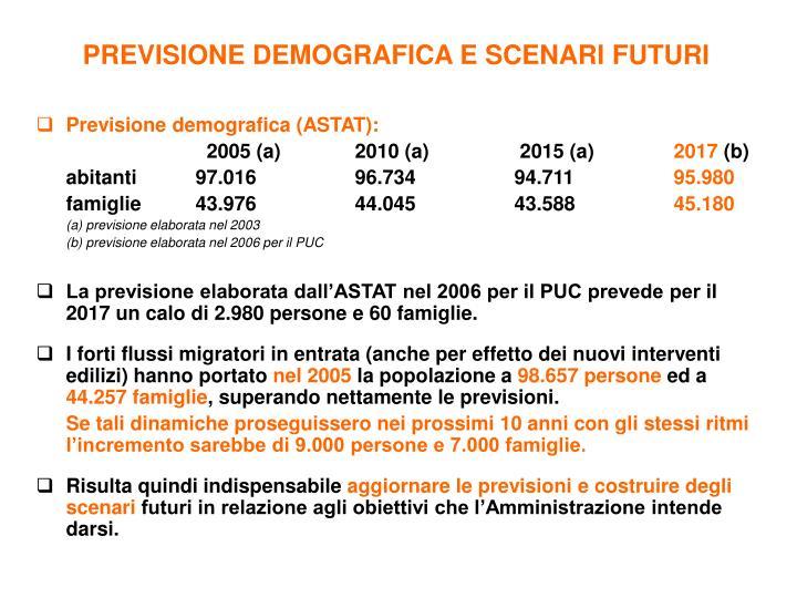 PREVISIONE DEMOGRAFICA E SCENARI FUTURI