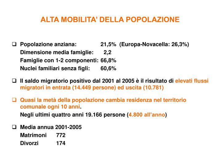 ALTA MOBILITA' DELLA POPOLAZIONE