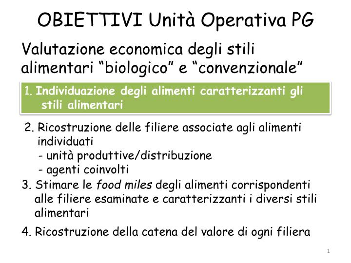obiettivi unit operativa pg n.