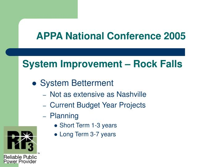System Improvement – Rock Falls
