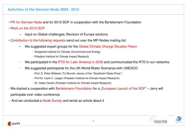 Activities of the german node 2009 2010