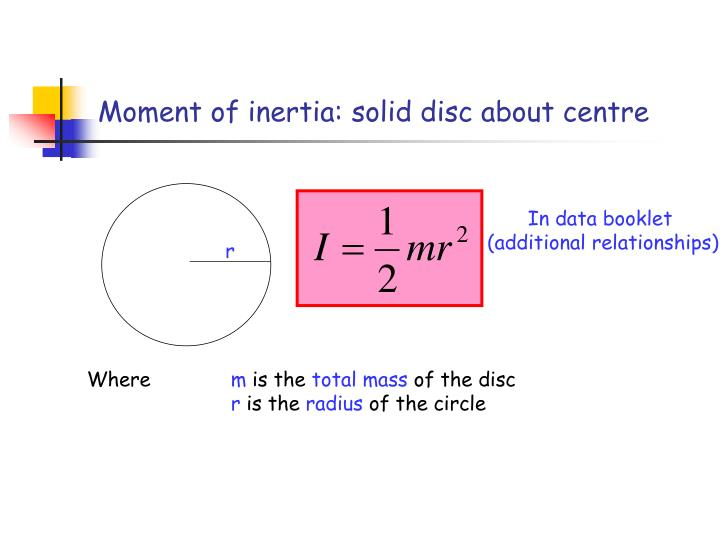 Moment of inertia: solid disc about centre