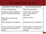advantages of pra with fgd