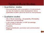 types of rural studies