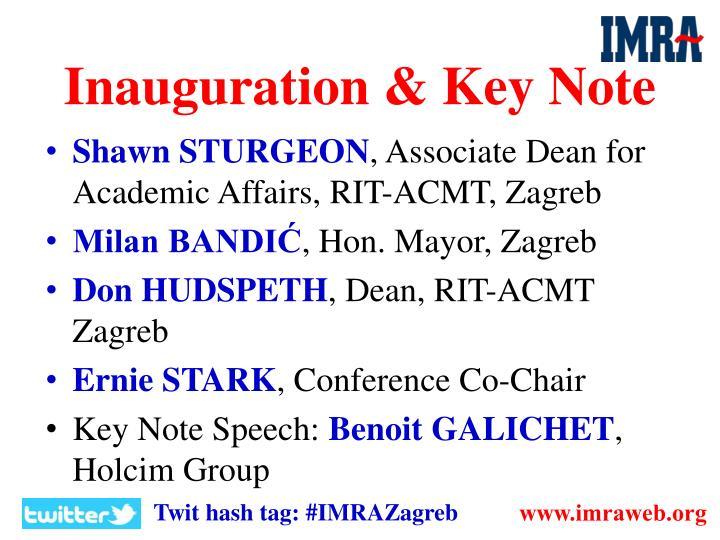 Inauguration key note
