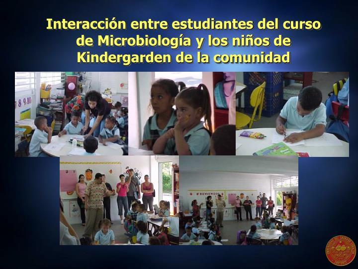 Interacción entre estudiantes del curso de Microbiología y los niños de Kindergarden de la comunidad