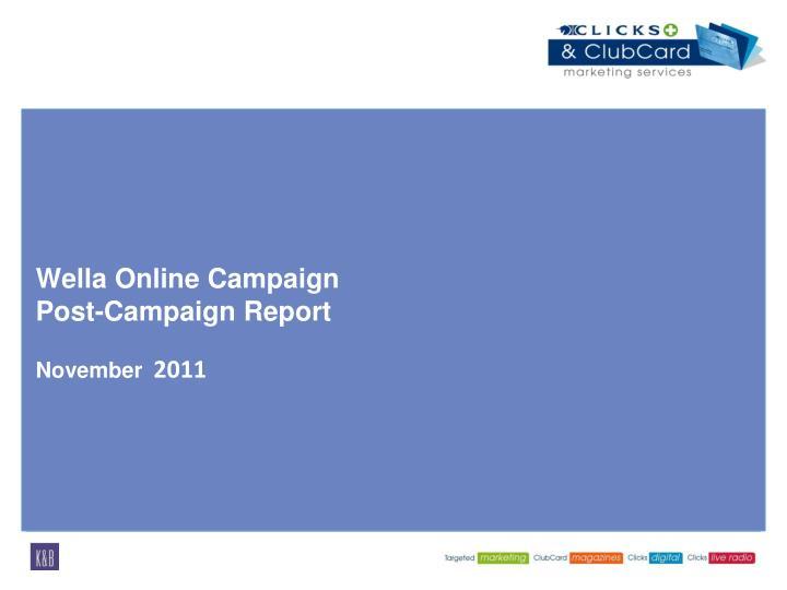 wella online campaign post campaign report november 2011 n.