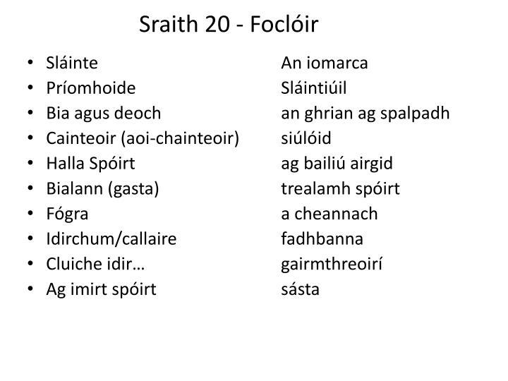 sraith 20 focl ir n.
