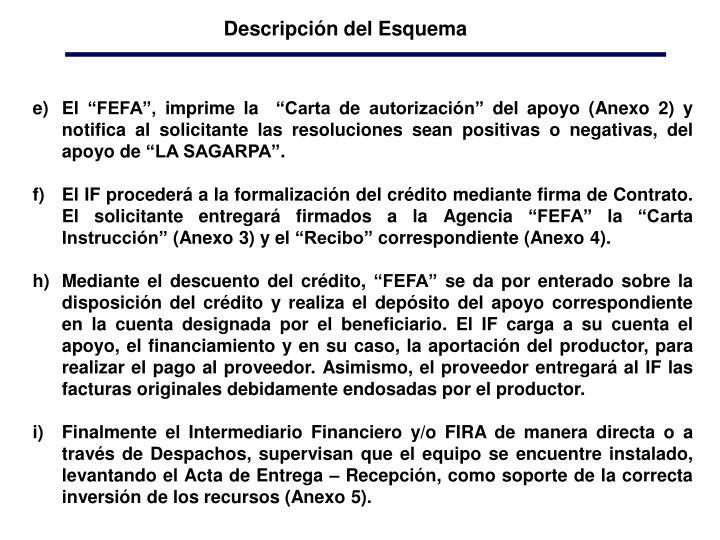 """El """"FEFA"""", imprime la  """"Carta de autorización"""" del apoyo (Anexo 2) y notifica al solicitante las resoluciones sean positivas o negativas, del apoyo de """"LA SAGARPA""""."""