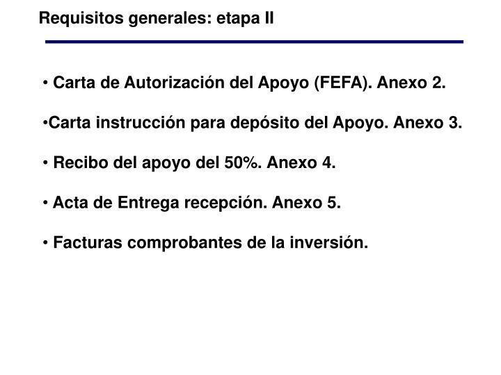Requisitos generales: etapa II