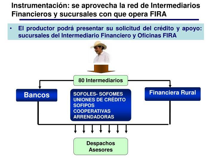 Instrumentación: se aprovecha la red de Intermediarios Financieros y sucursales con que opera FIRA