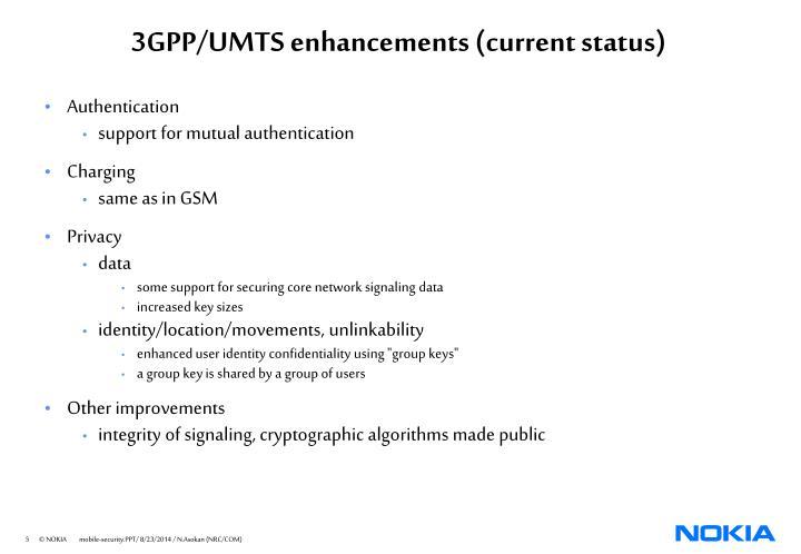 3GPP/UMTS enhancements (current status)
